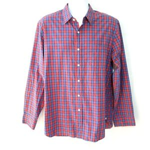 J Crew Mens Sz L Red Blue Plaid Shirt Long Sleeve